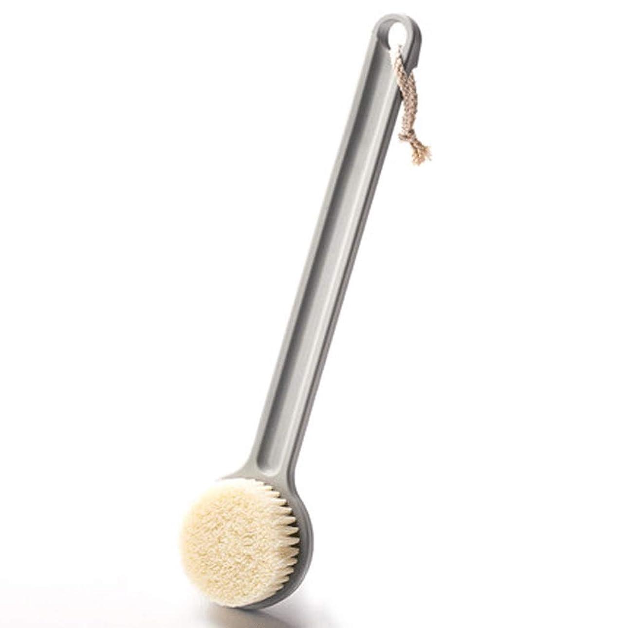 認証スタンド不適当バスブラシバックブラシロングハンドルやわらかい毛髪バスブラシバスブラシ角質除去クリーニングブラシ (Color : Gray)