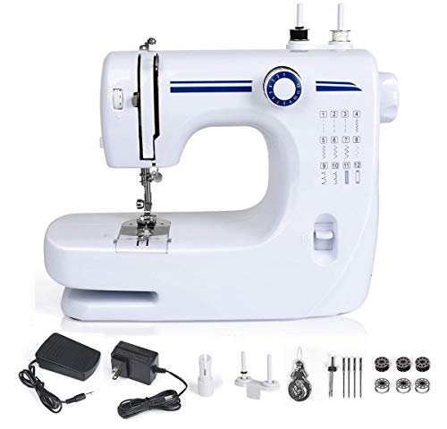 Nynelly Multifunctional Sewing Machine Electric Household Crafting Mending,Beginner Sewing Machine,12 Built-in Different Stitches with Foot Pedal,Dual-Speed,Double Thread -  2.1