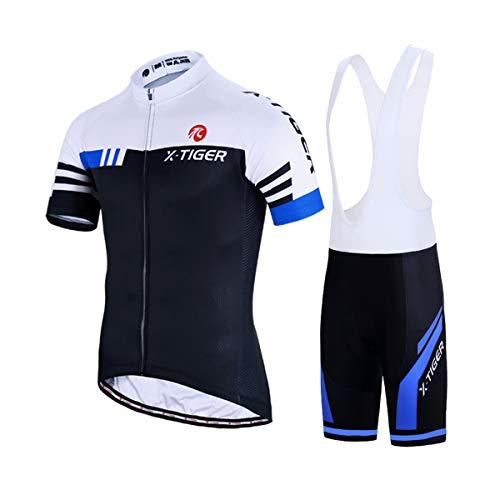 X-TIGER Hombres de Bicicleta con 5D Gel Acolchado MTB Ciclismo Tirantes Culotte Pantalones Cortos Culotes (XXL, Azul y Blanco)