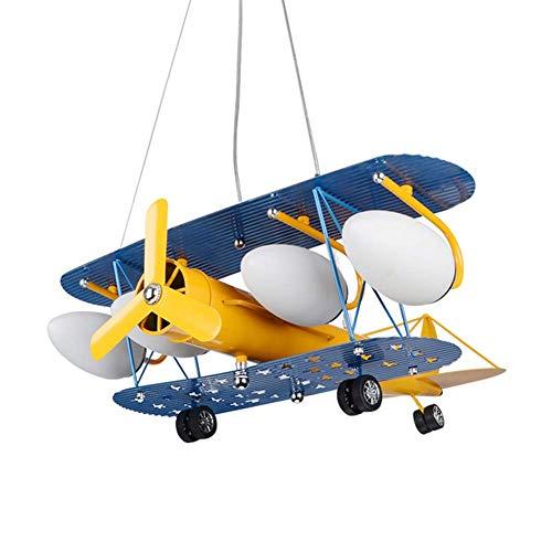 LLLKKK . Lámpara de techo LED con forma de avión, para niños, para habitación de los niños, de hierro forjado, E14, 5 cabezales.