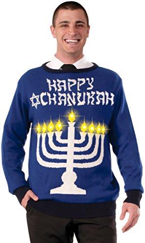 Forum Novelties Men's Plus Size Lite-Up Menorah Chanukah Sweater, Multi, X-Large