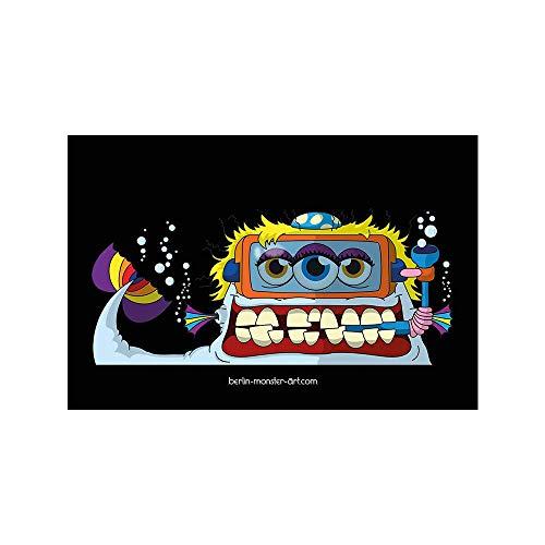 Schwarzer Kühlschrankmagnet - Magnetfolie mit hochwertigem farbigen Druck. Dein Supermagnet mit coolem Monster-Motiv von BERLIN-monster-ART - Fishy