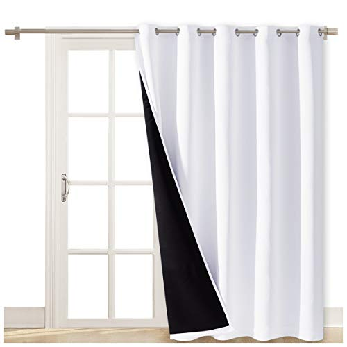 NICETOWN Full Shading Curtains for Patio Door, Super Heavy-Duty Thermal Backing Sliding Glass Door Drape, Privacy Assured Window Treatment(70 inches W x 84 inches L Each Panel, Pure White)