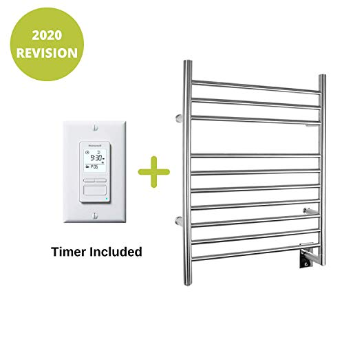 Read About WarmlyYours 10-Bar Infinity Towel Warmer, Plug-in, Stainless Steel