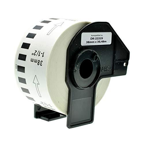 Logic-Seek Endlos-Etikett kompatibel für Brother DK22225 38mm x 30,48m P-Touch QL-1050 1060N 500 550 560 570 580 700 500 A BS BW 560 VP YX 580N 650TD 710W 720NW