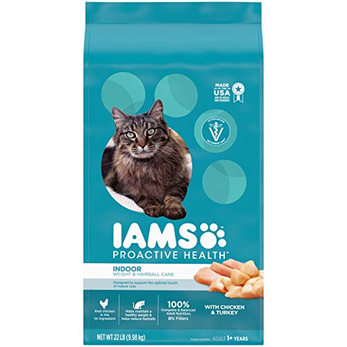 IAMS PROACTIVE HEALTH Adult Indoor Weight Control & Hairball Control Dry Cat Food with Chicken,...