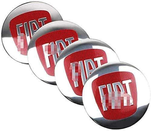 4 Stück 3D Aluminium Auto Radnabe Mittelkappen Abdeckungen 56mm für Fiat Viaggio Abarth Punto 124 125 500,...