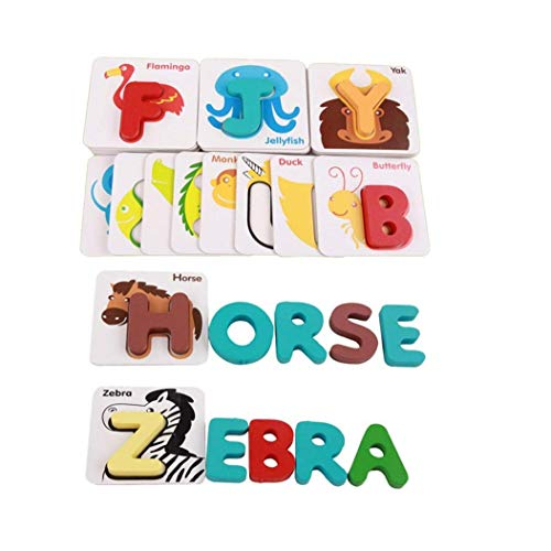 1 Set Wooden Alphabet Letters Matching Puzzle ABCs Flash Cards Educational Colorful Cards with Animals for Children Preschool Toddlers