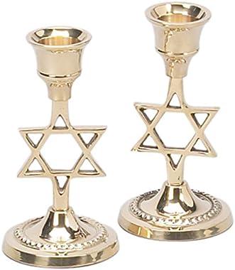 "Shabbat Star of David Candle Holders - Brass - 4"""
