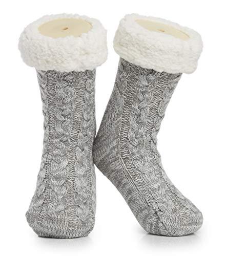 Chaussettes chaussons doux pour femme et homme - Chaussons tricotés en laine sherpa - Antidérapants - Taille 36-42 - Gris - 37-42