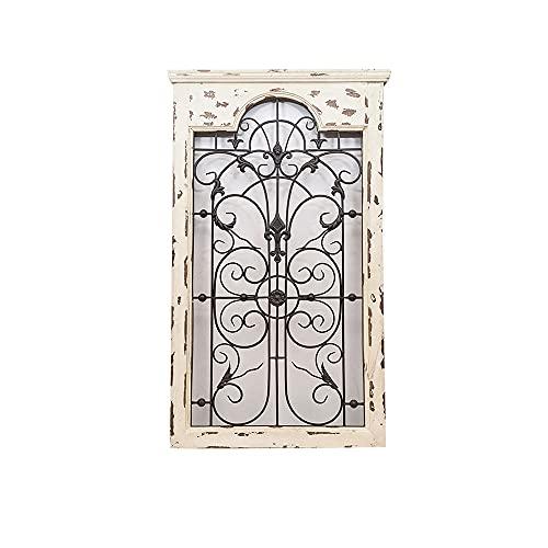 CJSWT Marco de Ventana rústico, decoración de Pared de Panel de Ventana de Metal y Madera Decorativa, decoración del hogar de Campo francés de Granja Vintage, 114x68cm