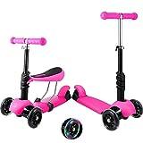 Patinete de 3 ruedas para niños pequeños y niñas, 2 en 1, con asiento desmontable, ruedas de luz LED, manillar de aluminio ajustable, base ancha, antideslizante, color rosa
