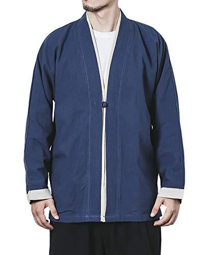 Aden Herren Jahrgang Kimono Haori Jacke Chinesischer Stil Mäntel Hanfu Langarmshirts Cardigan