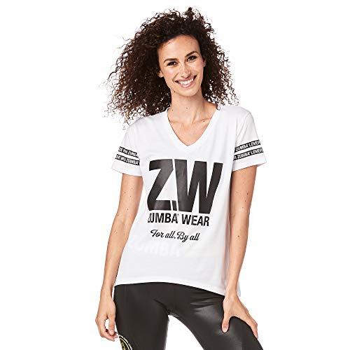 Zumba Camiseta de Entrenamiento de Moda con Cuello de Pico para Mujer Grande Blanco