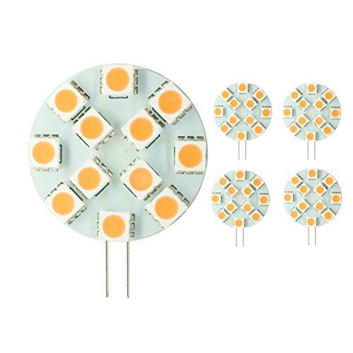 LIGHTEU, 2018 Nuovo. 5x G4 LED 2.4W, 250Lumen. , unidirezionale capsula lampadina LED with12 SMD 5050 DC 12 V bianco caldo, G4. GU4 LED, angolo a fascio di 120 °. [Classe energetica A ++]