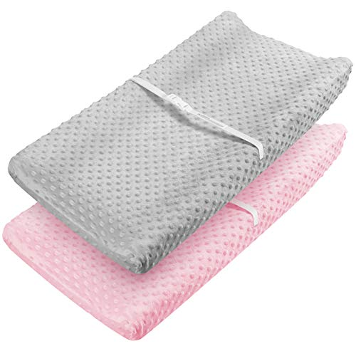 Babebay Changing Pad Cover  Ultra Soft Minky Dots Plush Changing Table Covers Breathable Changing Table Sheets Wipeable Changing Pad Covers Suit for Baby Boy and Baby Girl Pink amp Lt Gray