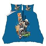 ZHYINA Shaun The Sheep - Juego de ropa de cama infantil (135 x 200 cm, funda de almohada de 80 x 80 cm), diseño de ovejas