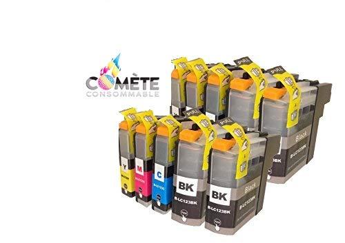 COMETE LC123 - Cartuchos de tinta compatibles con Brother LC123XL para impresora DCP-J132W J152W J172W J552DW J752DW J4110DW MFC-J245 J6520DW J6720DW (10 unidades)