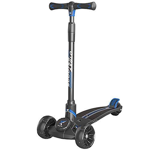 LJHBC Patinete Scooter de 3 Ruedas para niños para Edades de 6 a 14 años Altura Ajustable Diseño Compacto Plegable, Dirección Inclinada y Ruedas LED Intermitentes (Color : Blue)