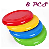 Agreatca 8 Pack 8 inch Flying Discs Flying Saucer Flyer Disks Backyard Games, Fun Summer Outdoor Activity Game for Camping - Birthday Party Favors