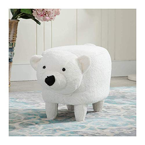 ZXLLAFT Ottomans with Washable Cover Animal Plush Footstool Padded Cushion Rest Seat for Kids Hallway Bedroom Living Room Small Furniture(bear),White