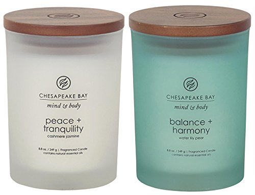 Chesapeake Bay Candle Scented Candles, Peace + Tranquility & Balance + Harmony, Medium (2-Pack)