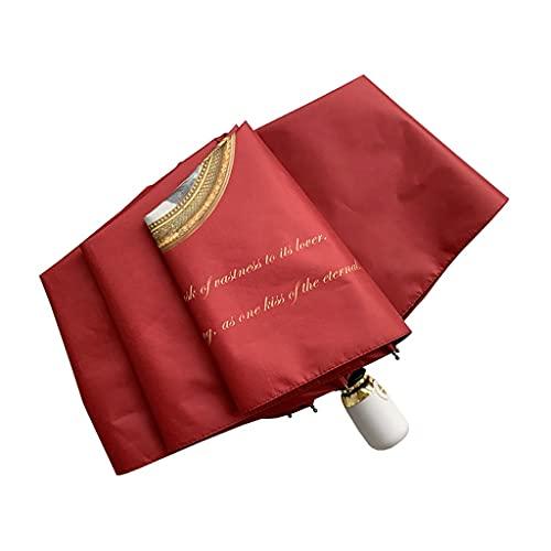 Paraguas de viaje a prueba de viento Paraguas de pintura al óleo noble dama, retro, literario, a prueba de viento, automático, soleado y lluvioso, mini 50% de descuento, protección solaria, UV Protecc