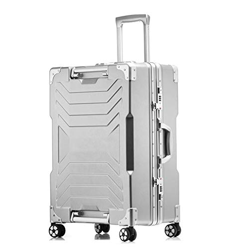 ADDG Aluminum Frame PC Travel Trolley Case 4 Wheel Luggage Suitcase Bag Business Password Box,White,24 inches