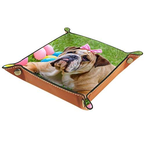 Bandeja de Cuero - Organizador - Nudo Bulldog Británico Jugando Bolas Coloridas - Práctica Caja de Almacenamiento para Carteras,Relojes,llaves,Monedas,Teléfonos Celulares y Equipos de Oficina