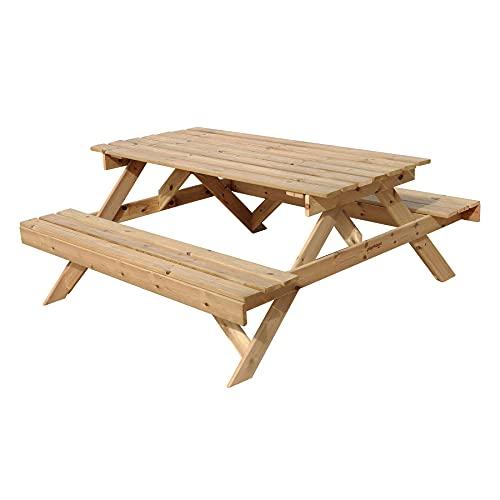 Plantawa Table de pique-nique en bois, table avec banc pour jardin extérieur et terrasse, camping goûter, 170 x 160 x 72 cm pour 6-8 personnes