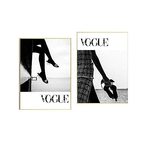 Moderno Pared Arte Chica Dormitorio Negro Blanco Zapato De La Lona Pared Pintura Vogue Pared Cuadros Moda Salon Sala Poster Impresiones 40x60cmx2 No Marco