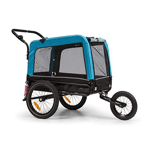 Klarfit Husky Vario 2 in 1 - Rimorchio da Bici e Buggy per Cani, Vol 240 L, Materiale: 600D Oxford Canvas, SmartSpace Concept, Carico Massimo: 40 kg, Colore: Blu