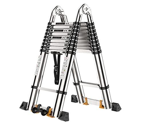 Escalera telescópica de aluminio Conductor telescópico de aluminio de 30 pies, líder de retractación con llaves, conductor plegable con mecanismo de bloqueo con resorte para el techo escaleras de cas