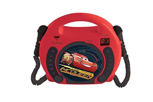 Lexibook Disney Pixar Cars Lightning McQueen CD-Player mit 2 Spielzeug-Mikrophonen, Kopfhöreranschluss, Batteriebetrieben,Rot / Schwarz, RCDK100DC