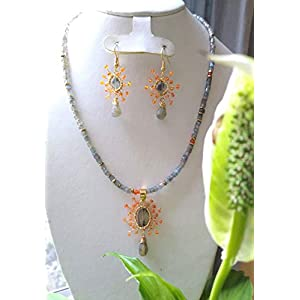 Labradorite, Cornaline Agate and Hematite. Necklace and Earrings Set, Handmade, Semiprecious Stones, Eco-Fashion. MADE…