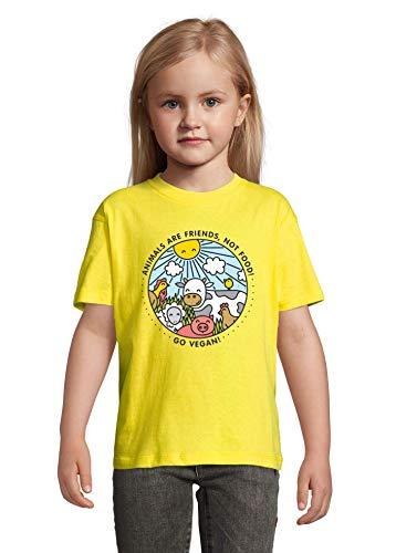 Animals are Friends Not Food Vegan Vegetarian Yellow Colorful Kids T-Shirt 118-128cm (8year)