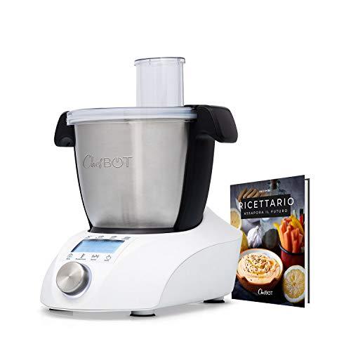 IKOHS CHEFBOT COMPACT - Robot da Cucina Multifunzione, Compatto, 23 Funzioni, 10 Velocità con Turbo, 3,5 Litri in Acciaio Inossidabile, Senza BPA (Chefbot con ricettario - Bianco)