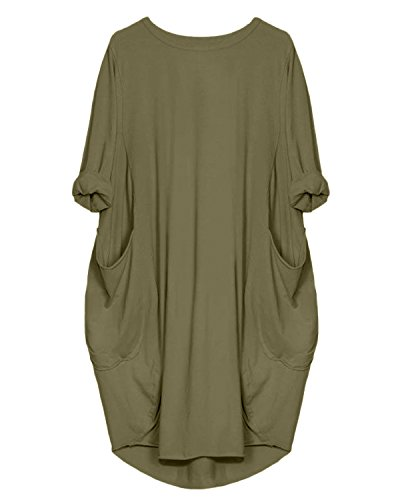 Kidsform Women's Tunic Dress Long Sleeve Oversize Baggy T Shirt Causal Loose Party Short Midi Dresses with Pockets Army Green 2XL