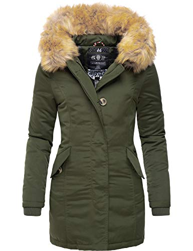 Marikoo Damen Winter Mantel Winterparka Karmaa Olive Gr. XXL