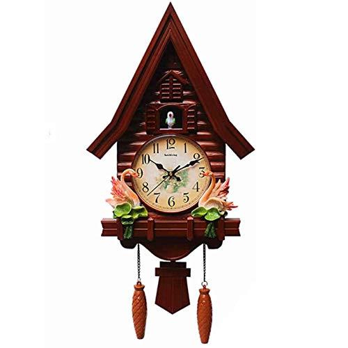 DongSheng Mini Reloj de Cuco Moderno, Reloj de Pared de la casa del árbol Reloj de Pared de Cuco Moderno, Sala de Estar, Dormitorio, Sala de niños, Reloj, Reloj de Cuarzo silencioso, Rojo,Red Brown
