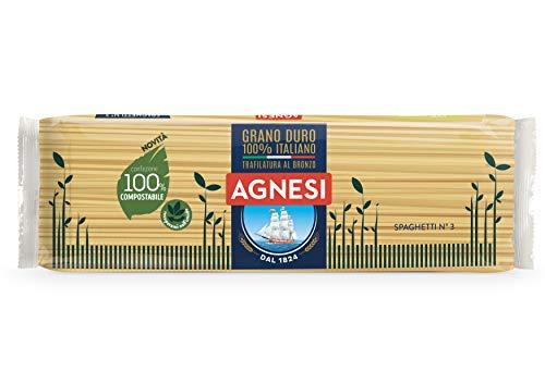 Agnesi Spaghetti | Pasta Di Semola Di Grano Duro 100% Italiano | Trafilatura Al Bronzo | Confezione Compostabile, 500 Grammo