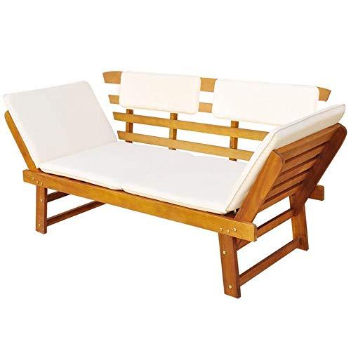 XUHAHAZNSH Tumbona Convertible 2 en 1 para Exteriores, Silla de Madera de Acacia para sillas de Muebles de Patio Trasero