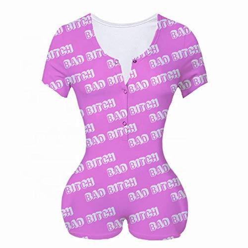 Women 's Overall Sexy Deep V Neck Romper Bodycon Casual Long Sleeve Leopard Yes Daddy Pajama Sleepwear Clubwear (B, S)
