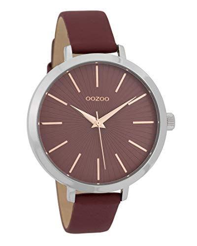 Oozoo Damenuhr mit Lederband 42 MM Weinrot/Weinrot C9673