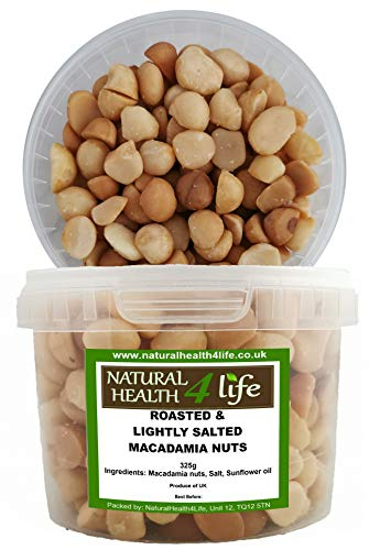 Roasted and Lightly Salted Macadamia Nuts - 325g in airtight tub