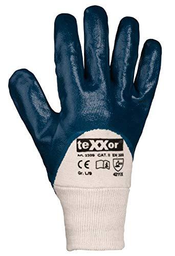(12 Paar) teXXor Handschuhe Nitril-Handschuhe Strickbund 12 x beige/blau 9
