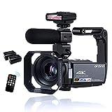 ORDRO 4K Videocámara de visión Nocturna por Infrarrojos 1080P 60FPS WiFi Cámara de Video con Micrófono, Luz de Visión Nocturna por Infrarrojos y 2 Baterías