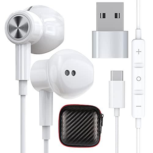 TITACUE USB C Kopfhörer HiFi Stereo In Ear Magnetic Headphone mit Kabel und Mikrofon PC Headset mit USB C auf A Adapter für Samsung S21 S20 FE OnePlus 9 Pro 9 Nord P40 P30 P20 Pixel 5 6 Pad Pro Laptop