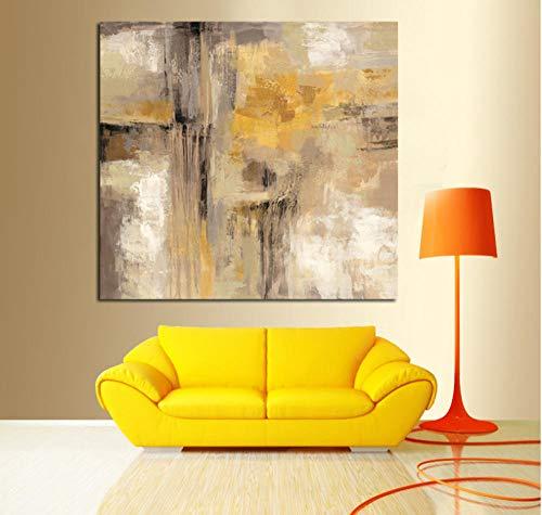Zwzxyz HD Print Gelbgrau Ölgemälde auf Leinwand Skandinavische Kunst Poster Wandbild für Wohnzimmer Sofa Home Decoration