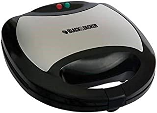 Black+Decker TS2090-B5 3-In-1 Sandwich Grill and Waffle Maker, 750 W - Black/Silver
